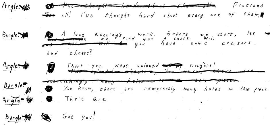 Original manuscript of 'Holes' (page 1).